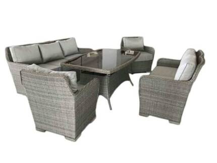 New PE Wicker Lounge Dining Outdoor Set Aluminum Base/ Assembled