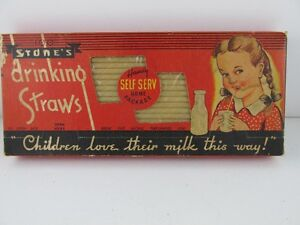 Vintage Drinking Straws Made by Stone's Canada Unused Box of 100
