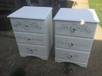 Pair pine painted chest of drawrs
