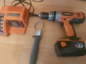 Ridgid hammer drill with battery and charger