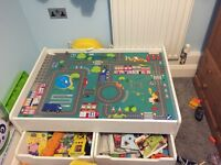 Children's play table and storage drawers