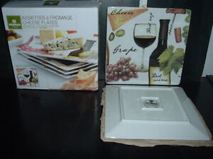 4 STOKES PORCELAIN CHEESE PLATES (BRAND NEW IN BOX)