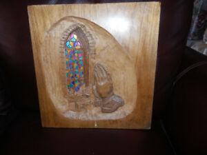 HAND CARVED AND PAINTED RELIGIOUS PLAQUE