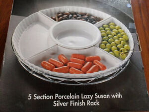 New in Box Godinger 5-Section Porcelain Lazy Susan with Silver F