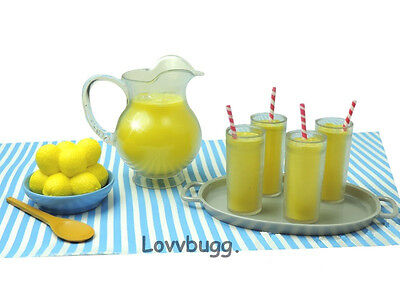 "Lovvbugg 12 pc Lemonade Drinks Set Mini for 18"" American Girl Doll Food Accessory"