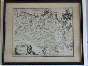 ANTIQUE FRAMED MAP - SILESIA AND BRESLAU (WROCLAW)