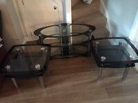 Glass tv stand and 2 side tables