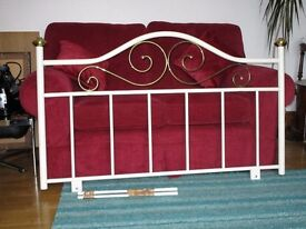 White and brass bedhead/headboard for double bed