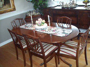 Duncan Phyfe DR table with 8 chairs and Table Leaf-$400.00