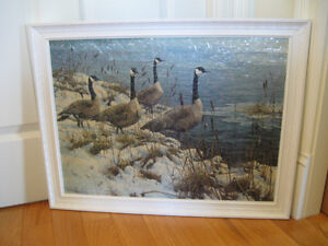 "OLD VINTAGE FRAMED ART by J. SEEREY-LESTER ""AMONG the CATTAILS"""