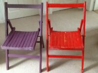 Two slatted folding wooden outdoor chairs (c1970s) in good condition