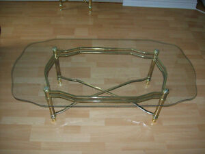 COFFEE AND END TABLES  --  BRASS AND GLASS