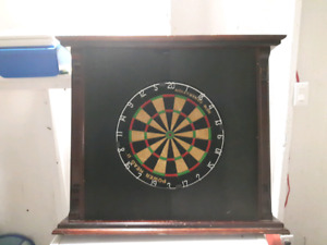 Thick dartboard in frame