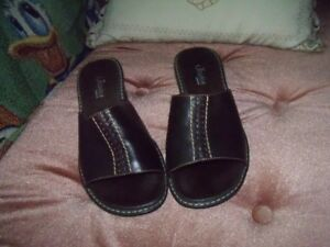 Womens Sandals, Leather, Brown, NEW, Size 7