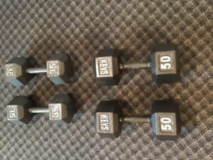 50 lb and 35 lb sets of weights