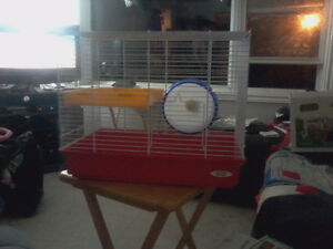(NEW PRICE) hamster cage with 1 hamster wheel and one rat wheel