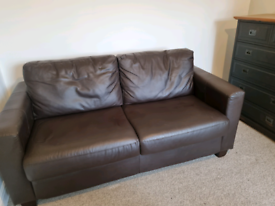Leather Bed Sofa with Mattress.