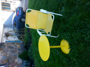 YELLOW TABLE AND LAWN CHAIR