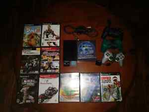 PS2 Slim + 3 Controllers + 10 Games
