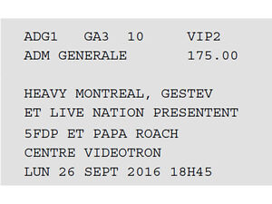 VIP ticket for Five Finger Death Punch & Papa Roach @Quebec City
