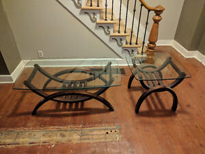 Coffee table + end table with thick glass tops