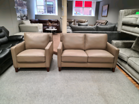 West Park taupe top grain leather 2+1 Seater