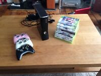 XBox 360 - 250gb - 3 Controllers - 10 Games