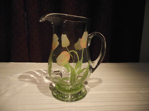 Princess House Crystal Tulip Pitcher - Hand Painted