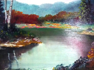 "Original Painting by Listed Artist Ernest Burrows ""Fishing Hole"" Stratford Kitchener Area image 7"