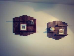 Étagère tablette murale en pin brut aspect antique bois grange