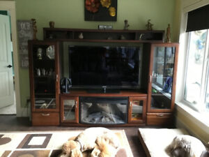 Large entertainment unit with Electric Fireplace