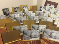 Gold picture frames - 4 x 6, 5 x 7 assorted.