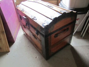 Antique wood dome trunk