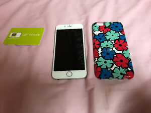 16g, silver iPhone 6, Telus. Includes case and new SIM card.