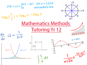 Flexible and Affordable Tutoring for Year 12 Mathematics Methods Willetton Canning Area Preview