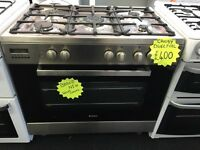 CANDY BRAND NEW 100CM DUAL FUEL RANGE STYLE COOKER IN SHINY SILIVER. H