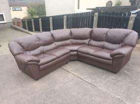23. Brown leather corner sofa