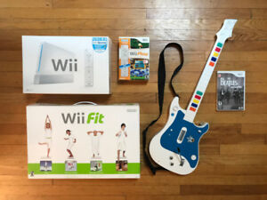 Console Wii + Sports + Play + Balance Board + Beatles guitare