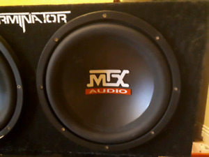 "MTX Terminator 12"" subwoofers and TNA251 amp"