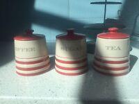Tea coffee sugar jars pots next