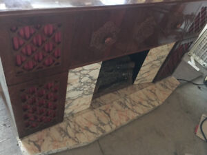 Retro fireplace and stereo, record player with 8 track