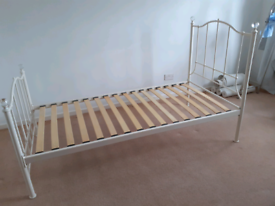Single metal bed frame with crystal finials