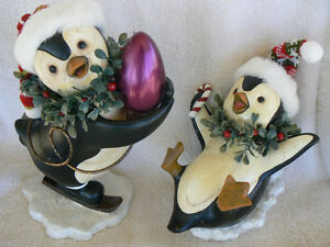 BRAND NEW! Set of 2 Holiday Wood Look Penguins