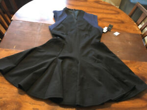 Dex A-line bottom flare dress black and navy size large, NEW