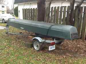 Canoe and trailer and motor