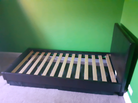 Faux leather single bed