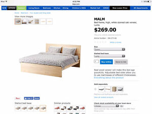 IKEA Malm Double Bed Frame + Slatted Bed Base + Foam Mattress