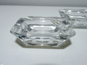 ART DECO Val St. Lambert heavy small CRYSTAL ASHTRAYS x3 signed Cambridge Kitchener Area image 3