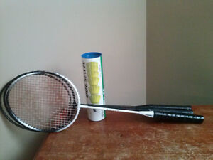 3 Badminton Racquets and 6 Shuttlecocks
