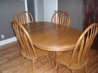 solid wood table with 6 chairs